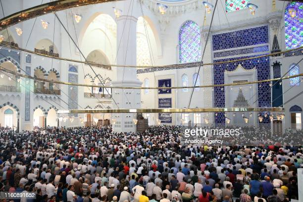 Muslims gather to perform the Eid Al Adha prayer at Camlica Mosque in Istanbul Turkey on August 11 2019 Muslims worldwide celebrate Eid AlAdha to...