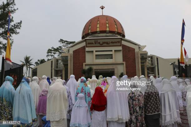 Muslims gather to perform the Eid Al Adha prayer at Roosniah AlAchmad Mosque in Bogor West Java Indonesia on September 1 2017 Muslims worldwide...