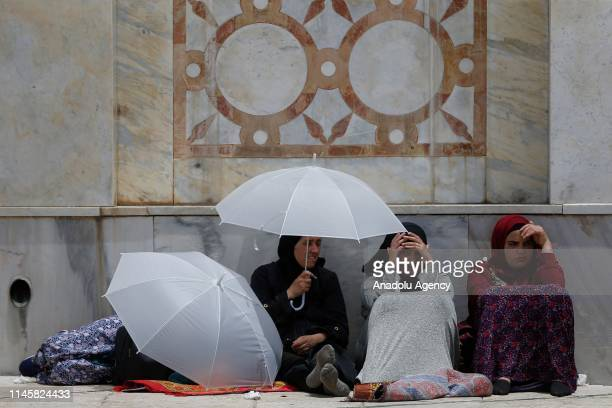 Muslims gather to perform the third Friday Prayer of holy fasting month of Ramadan at AlAqsa Mosque compound in Jerusalem on May 24 2019