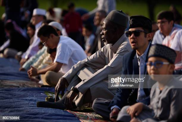 Muslims gather to pray as they celebrate Eid alFitr marking the end of Ramadan on June 25 2017 in Pittsburgh Pennsylvania The celebration marks the...