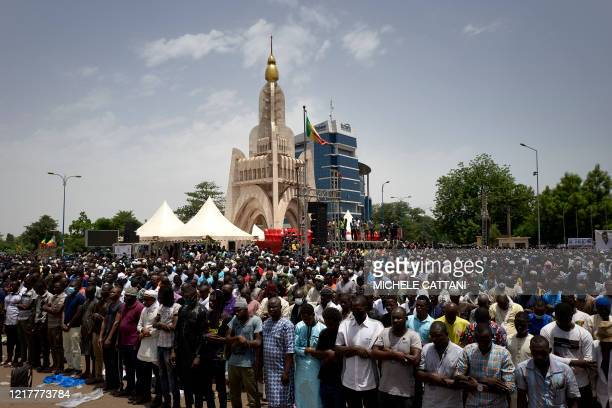 TOPSHOT Muslims gathering for the Friday prayer in the Independance square in Bamako on June 5 2020 Imam Mahmoud Dicko one of the most influential...