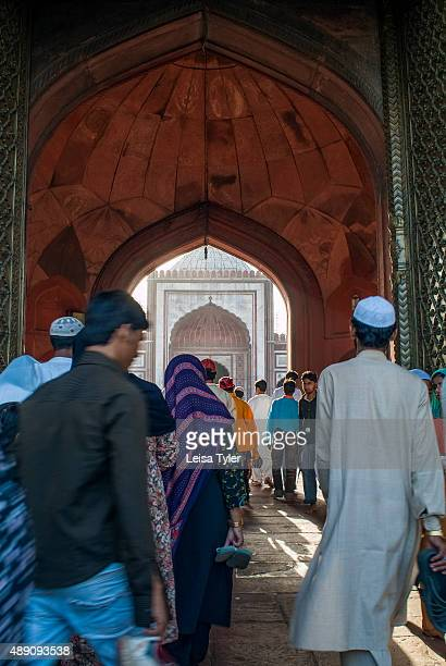 Muslims going for Friday prayer at Delhi's Jama Masjid built between 1644 and 1656 by Mughal emperor Shah Jahan