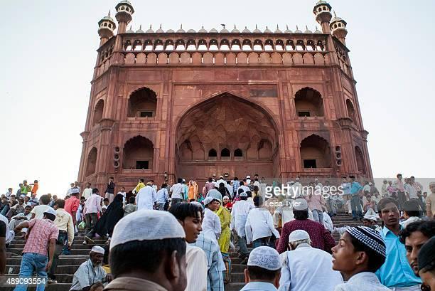 Muslims going for Friday prayer at Delhi's Jama Masjid, built between 1644 and 1656 by Mughal emperor Shah Jahan.