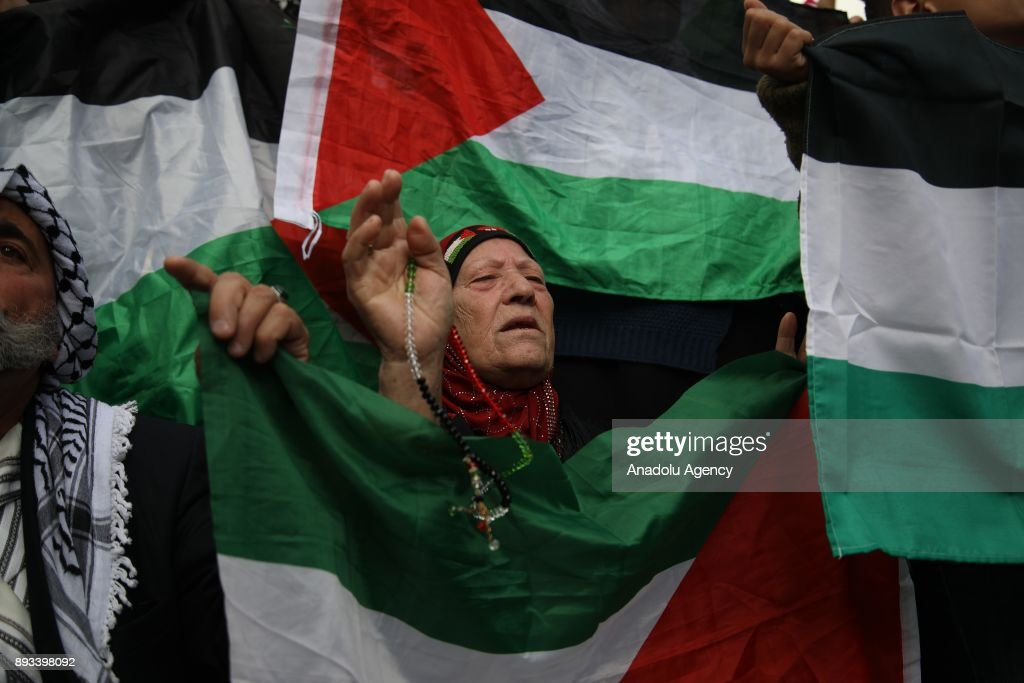 Protest against US decision to recognize Jerusalem as Israel's capital : News Photo