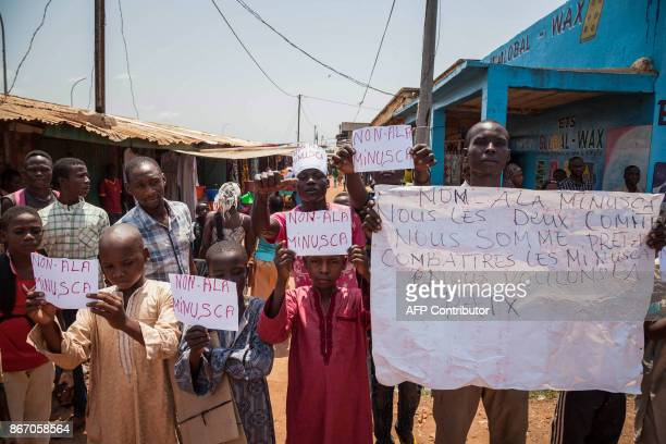Muslims in Bangui's Pk5 neighbourhood demonstrate against the Minusca peacekeeping force during the visit of the UN Secretary General on October 27...