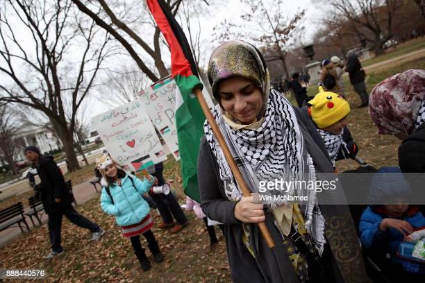 Muslims join a protest in Lafayette Park across from the White House December 8 2017 in Washington DC The American Muslims for Palestine group...