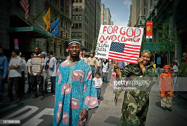 Muslims march in the annual Muslim Day Parade down Madison Avenue that unites and celebrates Muslim-American heritage in the five boroughs in New...