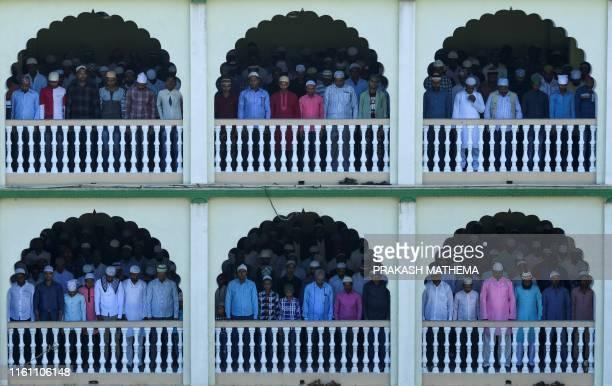 TOPSHOT Muslims offer Eid alAdha prayers at Kashmiri Mosque in Kathmandu on August 12 2019 Muslims around the world are celebrating Eid alAdha the...