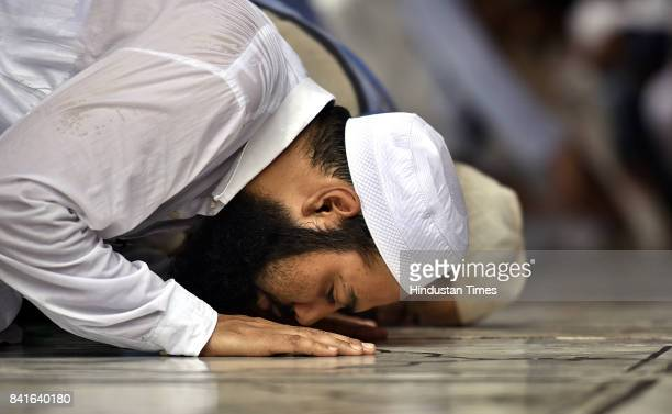 Muslims offer Namaz at Jama Masjid on the occasion of Eid on on September 1 2017 in New Delhi India Muslims across the world are preparing to...