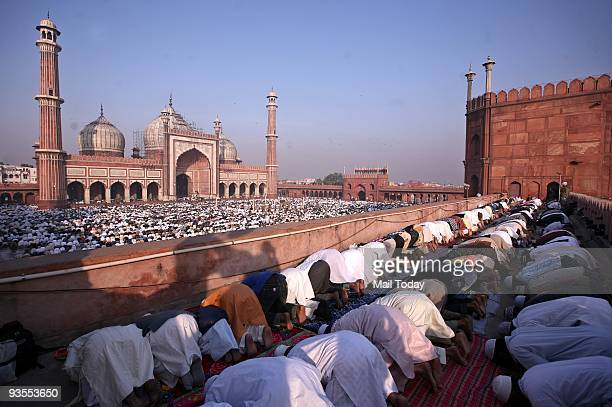 Muslims offer namaz at Jama Masjid on the occasion of EidulZuha festival in New Delhi on Saturday November 28 2009