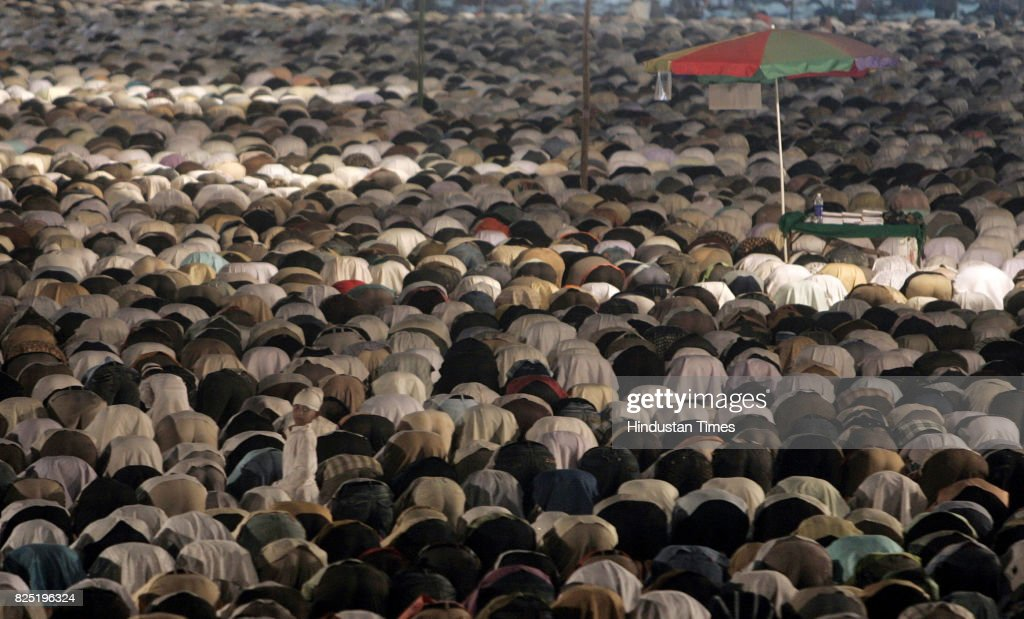 Muslims offer Namaz prayers at the 18th Annual Sunni Ijtema a