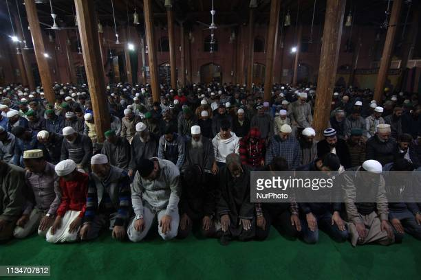 Muslims offer prayers in SrinagarKashmir on the occasion of ShabeMeraj the night when the Holy Prophet Muhammad ascended to the heavens on April...