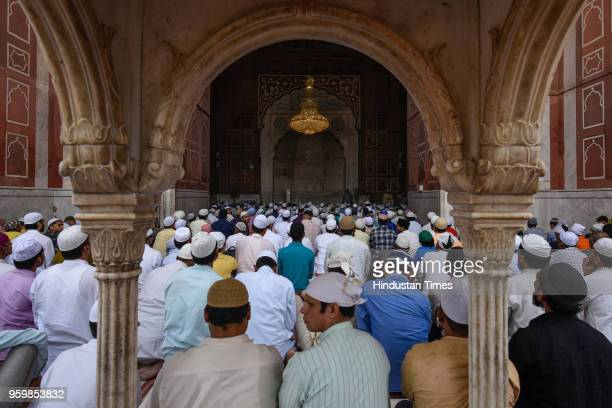 Muslims offer prayers on the first Friday of the holy month of Ramadan at the Jama Masjid on May 18 2018 in New Delhi India Muslims all over the...
