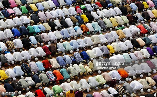 Muslims offer prayers to mark the festival of Eid alFitr the end of the fasting month of Ramzan at Fatehpuri Masjid on July 7 2016 in New Delhi India...