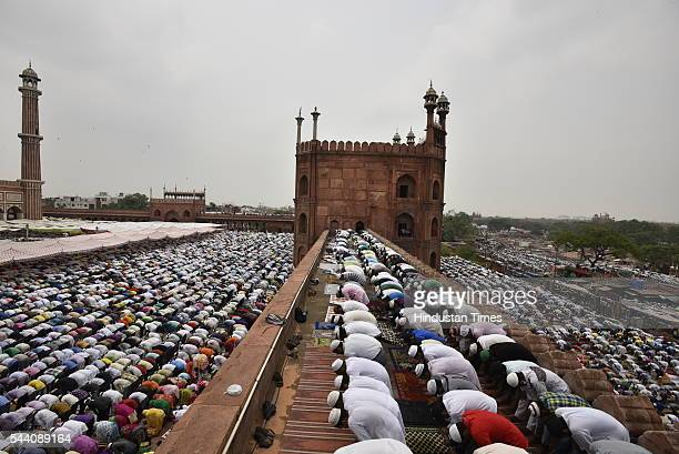 Muslims offering alvida juma prayer at Jama masjid on July 1 2016 in New Delhi India EidUlFitr will be observed in India on July 6 or 7 depending on...