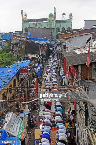 Muslims offering Namaz on the occasion of Eid alAdha the festival of sacrifice at Dharavi on September 2 2017 in Mumbai India Eid alAdha is...