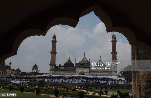 Muslims offering prayers on the occasion of EidUlFitr at Bara Imambara on June 26 2017 in Lucknow India The celebrations marked the end of Holy...