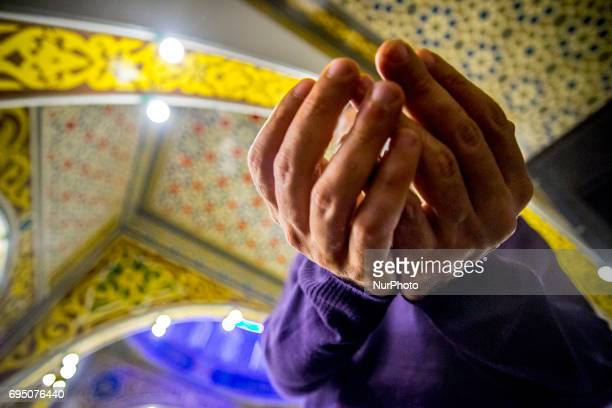 Muslims participate in prayer that precedes the breaking of the fast during Ramadan the sacred month of Islam in the Mesquita Brasil in Sao Paulo...
