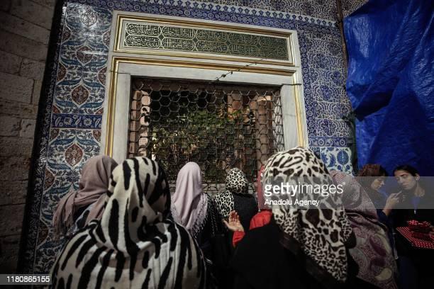 Muslims perform a mass prayer to mark Mawlid alNabi at Eyup Sultan Mosque in Istanbul Turkey on November 08 2019