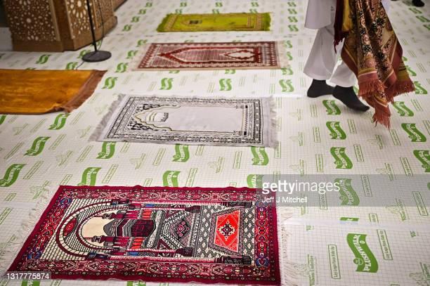 Muslim's perform an Eid Al-Fitr prayer at the Islamic Centre Scotstoun on May 13, 2021 in Glasgow, Scotland. Eid al-Fitr marks the end of Ramadan,...