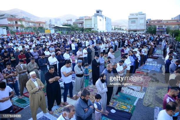 Muslims perform Eid alAdha prayer at Heaven Mosque in Sulaymaniyah Iraq on July 31 2020