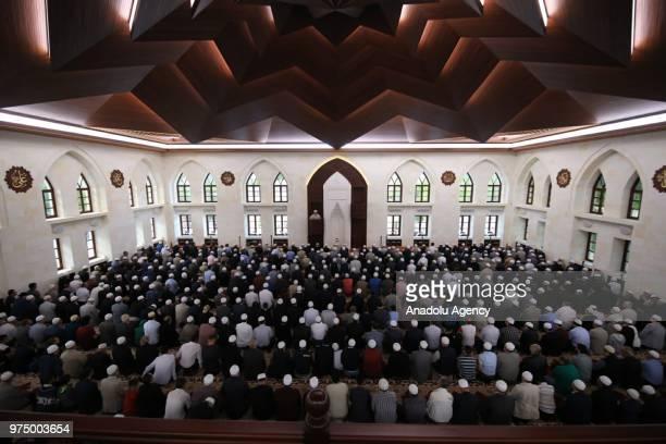 Muslims perform Eid alFitr prayer at Somuncu Baba Complex in Malatya Turkey on June 15 2018 Eid alFitr is a religious holiday celebrated by Muslims...