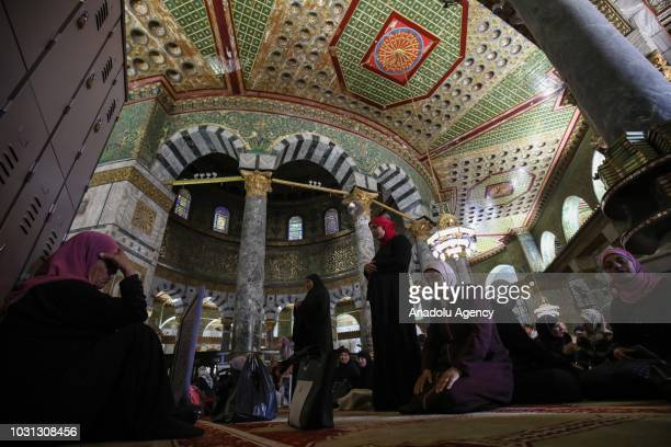 Muslims perform noon prayer during the 1 Muharram 1440 Hijriah celebrations marking Islamic new year at the Qibla Masjid of the AlAqsa Compound in...