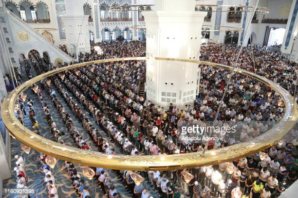 Muslims perform the Eid Al Adha prayer at Camlica Mosque in Istanbul Turkey on August 11 2019 Muslims worldwide celebrate Eid AlAdha to commemorate...