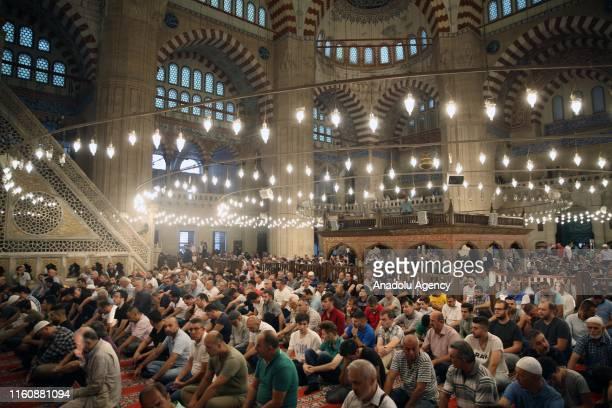 Muslims perform the Eid Al Adha prayer at historical Selimiye Mosque in Edirne Turkey on August 11 2019 Muslims worldwide celebrate Eid AlAdha to...