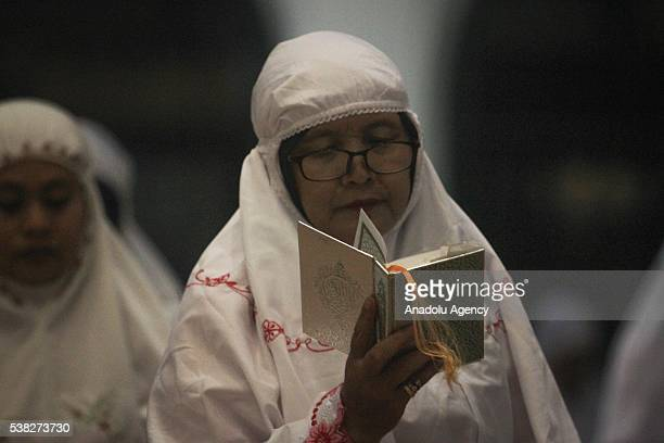 Muslims perform the first 'Tarawih' prayer on the eve of the Islamic holy month of Ramadan at the Great Mosque of Central Java in Semarang Central...