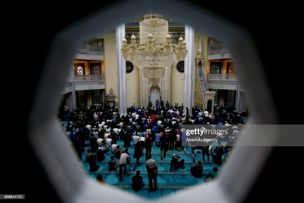 Muslims perform the first 'Tarawih' prayer on the eve of the Islamic holy month of Ramadan at Moscow Grand Mosque in Moscow, Russia on May 15, 2018.
