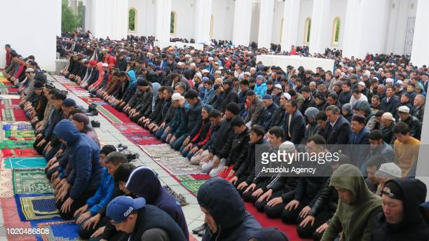 Muslims perform the Salat al Eid prayer at NurAstana Mosque in Astana Kazakhstan during the first day of the Eid al Adha on August 21 2018 Muslims...