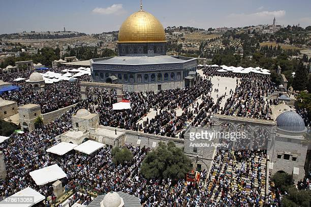 Muslims perform the second Friday prayer of the Islam's holy fasting month of Ramadan at al-Aqsa Mosque compound on June 26, 2015 in the Old City of...