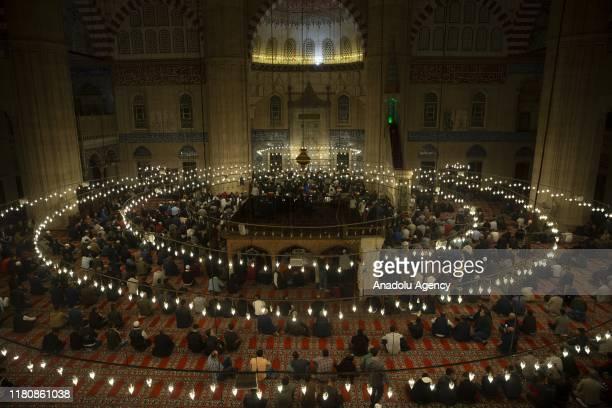 Muslims perfrom a mass prayer to mark Mawlid alNabi at Selimiye Mosque in Edirne Turkey on November 08 2019