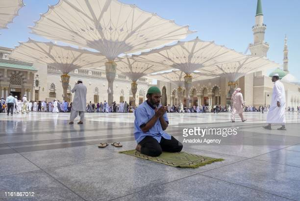 Muslims pray at Masjid alNabawi after completing the hajj pilgrimage in Medina Saudi Arabia on August 16 2018 After completing the pilgrimage in...