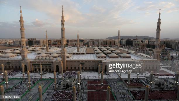 Muslims pray at Masjid alNabawi after completing the hajj pilgrimage in Medina Saudi Arabia on August 19 2019 After completing the pilgrimage in...