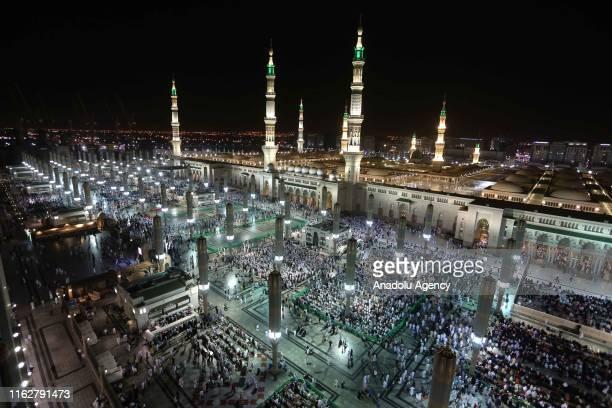 Muslims pray at Masjid alNabawi after completing the hajj pilgrimage in Medina Saudi Arabia on August 19 2019 After completing the pilgrimage in...