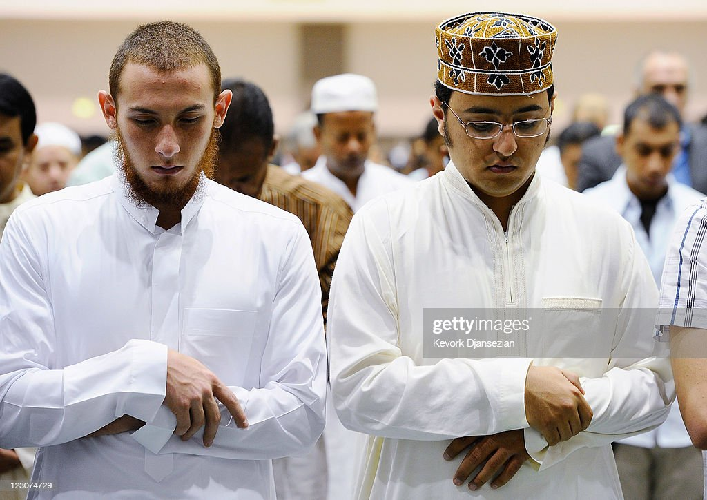 Muslims pray during a special Eid ul-Fitr morning prayer at the Los Angeles Convention Center on August 30, 2011 in Los Angeles, California. The three-day holiday, Eid ul-Fitr, marks the end of Ramadan, the Islamic month of fasting and begins after the sighting of a new crescent moon.