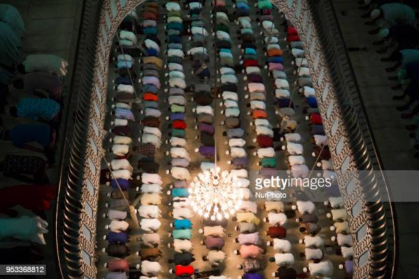 Muslims pray during a special prayer at the National Mosque of Bangladesh to mark ShabeBarat or 'night of forgiveness' in Dhaka Bangladesh on May 01...