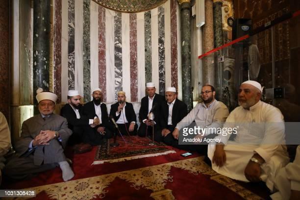 Muslims pray during the 1 Muharram 1440 Hijriah celebrations marking Islamic new year after performing noon prayer at the Qibla Masjid of the AlAqsa...