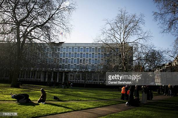 Muslims pray in Grosvenor Square in front of the United States Embassy after the HizbutTahrir demonstration on January 20 2007 in London England The...