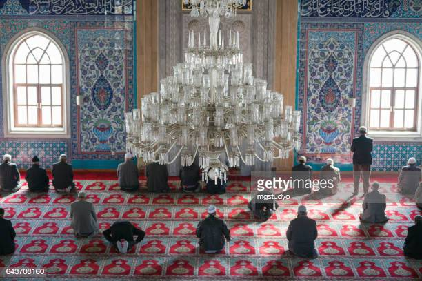 muslims prayer in mosque - god stock pictures, royalty-free photos & images