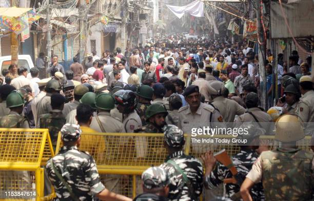 Muslims protest in Chandni Chowk after a mob vandalizes temple in New Delhi
