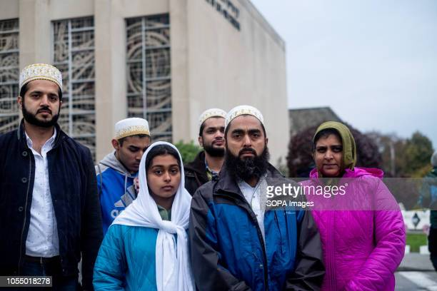Muslims seen at the site of the shooting to mourn the victims from the deadly mass shooting After the tragic shooting in Pittsburgh PA at the Tree of...