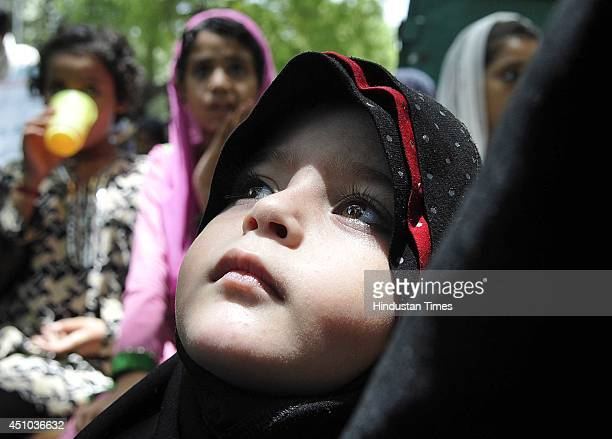 Muslims shout slogans during a demonstration against terror attacks in Iraq at Jantar Mantar on June 22 2014 in New Delhi India Shias from across the...