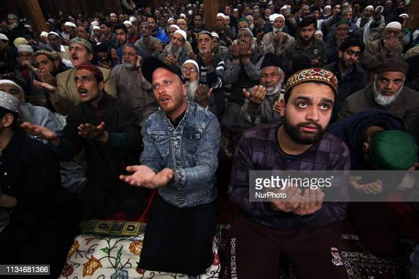Muslims supplicate as chief cleric Mirwaiz Umer Farooq delivers sermons in SrinagarKashmir on the occasion of ShabeMeraj the night when the Holy...