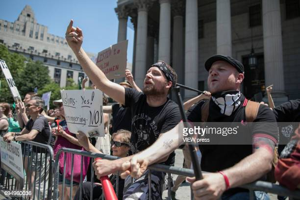 Muslims supporters confront Trump supporters during an antisharia law rally organized by ACT for America on June 10 2017 at Foley square in New York