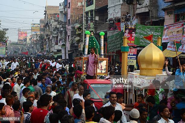 Muslims take part in Muharram procession at old city in Allahabad to commemorate the sufferings of Imam Hussain