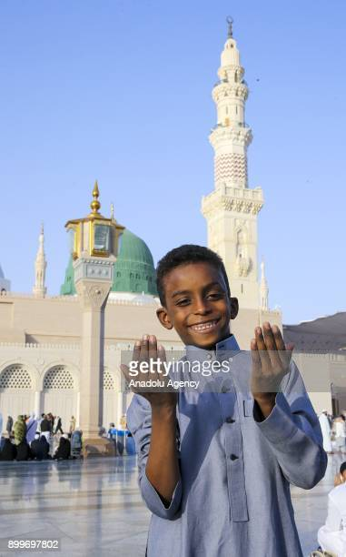 Muslims visit the Masjid alNabawi established and originally built by the Holy Prophet Muhammad's as they perform Umrah on December 30 2017 in Medina...