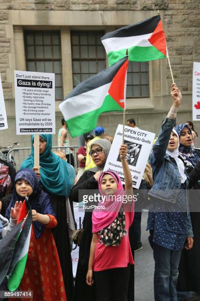 Muslims wave Palestinian flags during a demonstration in Toronto Canada on July 29 to protest against Israel and to show solidarity with the...